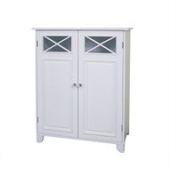 White 2-Door Bathroom Floor Cabinet with Adjustable Storage Shelf- EHFDCF8519841