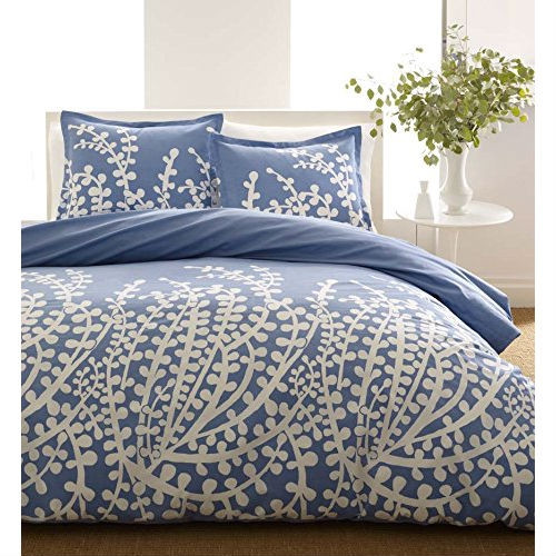 Full/Queen 100% Cotton 3-Piece Comforter Set with Blue White Floral Branch Pattern- CBCFBQ4859571