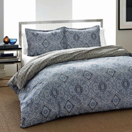 King 3-Piece Cotton Comforter Set with Blue Grey Damask Pattern- CSMBC83691