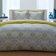 King 100% Cotton Comforter Set with Blue Yellow Damask Pattern- CMCK4687821