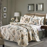 Twin 2-Piece Cotton Quilt Bedspread Set with Floral Birds Pattern- TFBCS15869842