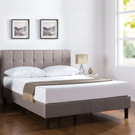 Full Medium Grey Upholstered Platform Bed Frame with Button Tufted Headboard