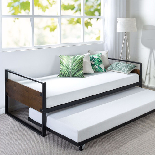 Twin Metal Amp Wood Daybed Frame With Roll Out Trundle Bed