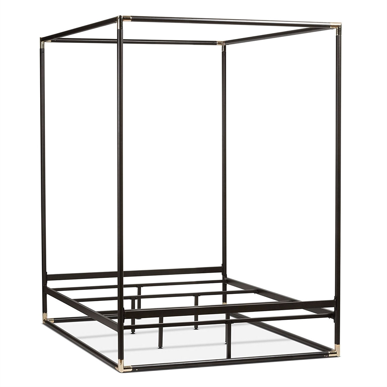 - Queen Canopy Bed Frame, Industrial Style Black Metal - Quality House