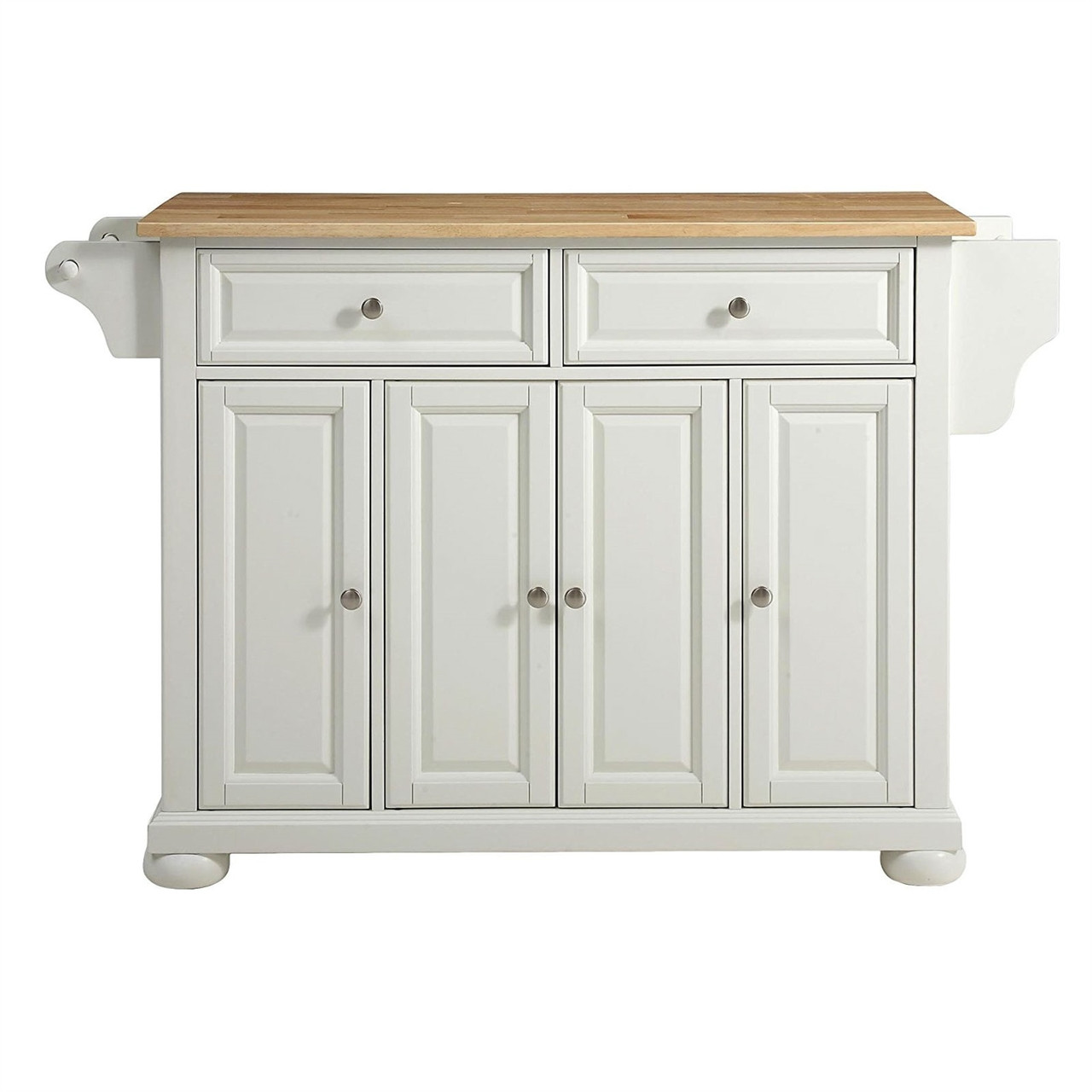 White Kitchen Island Storage Cabinet with Solid Wood Top ...