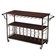 Wood Top Kitchen Island Wine Rack Cart with Storage Shelf KWTR289513-4