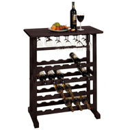 24-Bottle Wine Rack Table with Stemware Glass Hanging Rack VDEWR15681-4