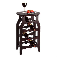 8-Bottle Oval Wine Rack Side Table in Espresso WOWR399812-4