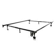 Twin / Full 6-Leg Metal Bed Frame with Rug Roller Wheels and Headboard Brackets