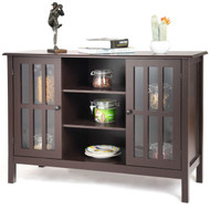 Brown Wood Sofa Tale Console Cabinet with Tempered Glass Panel Doors