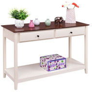 White Wood 2-Drawer Console Sofa Table with Walnut Finish Top