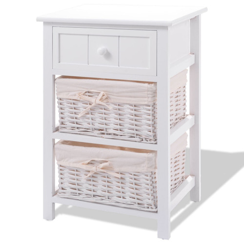 White Wood 1-Drawer End Table Nightstand with 2 Baskets