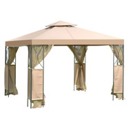 10 x 10 FT Gazebo with Coffee Canopy and Mosquito Netting Mesh Sidewalls