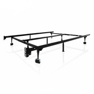 Universal 9-Leg Metal Bed Frame with Rug Rollers and Headboard Brackets