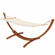 Outdoor 10-ft Arc Wood Hammock Stand with Cotton Polyester Hammock