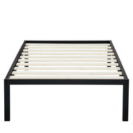 Twin Size Heavy Duty Metal Platform Bed Frame with Wooden Slats