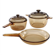 Classic Amber 5-Piece Glass Stovetop Safe Cookware Set CDPCS51981