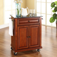 Cherry Portable Kitchen Island Cart w/ Granite Top & Locking Wheels CKC229015