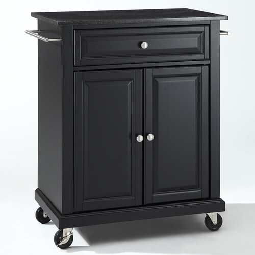 Black Mobile Kitchen Cart Island with Granite Top with ...