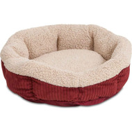 19.5-inch Round Red Heat Reflecting Pet Bed Small Dog or Cat - Machine Washable