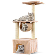 Beige 37 Inch Cat Tree Condo Kitten Play House Scratcher Post