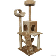 Beige 52 Inch Large Cat Tree Condo Post Hammock Pet Play House