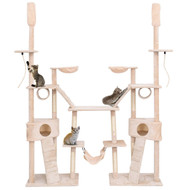 Beige 102 Inch Supreme Cat Play Condo Scratching Posts Cat Tree with Ladder Hammock