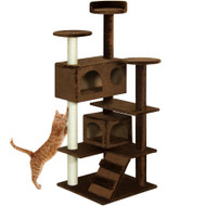 Brown 53 Inch Large Cat Tree Scratcher Condo
