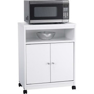 White Utility Cart / Kitchen Microwave Cart with Casters AUCW56991