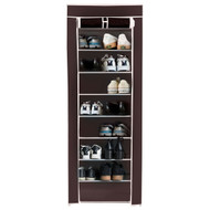 10 Tier Shoe Rack Brown Portable Closet Wardrobe Shelving Unit Fabric Cover