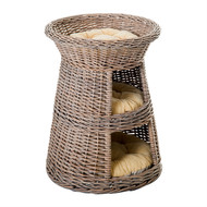 Eco Friendly 3 Tier Round Rattan Wicker Elevated Cat Condo Bed Beige