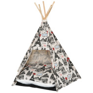 100% Cotton Foldable Teepee Tent Cat Dog Bed House Paris Theme