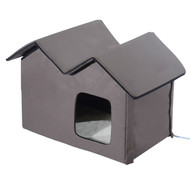 Heated Water-proof Double Wide Outdoor Cat Dog House Foldable Brown