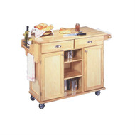 Natural Wood Finish Kitchen Island Cart with Locking Casters HSNKC256