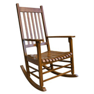 Oak Finish Porch Rocker Outdoor Mission Style Wood Rocking Chair