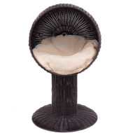 Elevated Wicker Rattan Cat Bed with Machine Washable Cushion