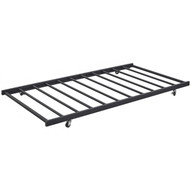 Twin size Roll-out Trundle Bed Frame in Black Metal Finish