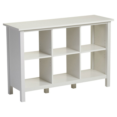 Adjustable Shelf 6-Cube Bookcase Storage Unit Sideboard in White
