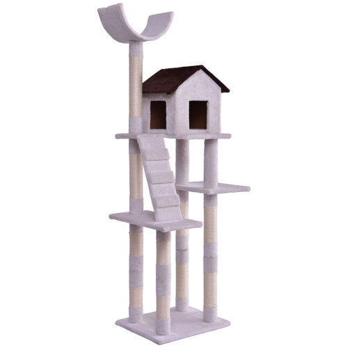 White 67 Inch Large Condo Ladder Tower Scratching Posts Play House Cat Tree