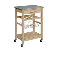 Granite Top Kitchen Island Cart in Natural Wood Finish LKIGT8901