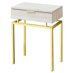 24in Modern End Table 1 Drawer Nightstand Beige Marble Gold Legs