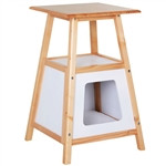 24-in Side Table Storage Shelf Natural Modern Wood Cat House Bed Nightstand