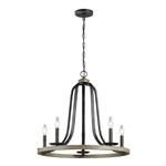Rustic 5 Light Dimmable Farm Home Circle Metal Chandelier Oak Finish