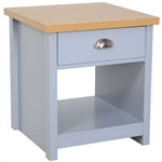 Gray Oak Finish Wood Top 1-Drawer Sofa Table Nightstand with Bottom Shelf
