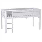 Twin size Kids Teens Bunk Loft Bed in White Wood Finish