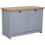 Gray and Oak Finish Wood Top Cabinet Entryway Storage Cabinet