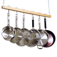 Ceiling Mount Single Bar Wooden Pot Rack with 4 Pan Hooks CMW40153
