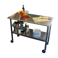 2ft x 4ft Stainless Steel Top Kitchen Prep Table with Locking Casters Wheels TEP15491513