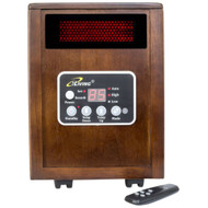 Infrared Space Heater 1500W with Remote w/ Dark Walnut Wood Cabinet PSHWC12348