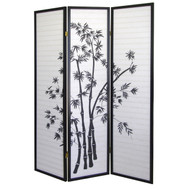 3-Panel Room Divider Privacy Screen with Bamboo Design Black White BWRD7905